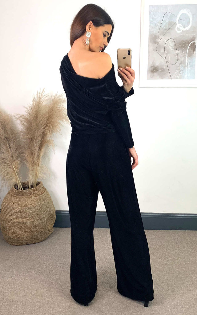 Pull on off shoulder jumpsuit in Black Velour Rib by House Of Lily