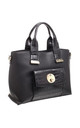 PATENT CROC PRINT FRONT POCKET TOTE BLACK by BESSIE LONDON