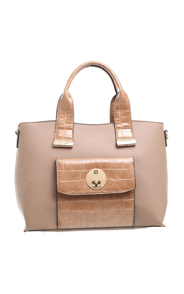 PATENT CROC PRINT FRONT POCKET TOTE KHAKI by BESSIE LONDON