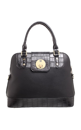 CROC PRINT FLAP OVER TWIST LOCK TOTE BLACK by BESSIE LONDON