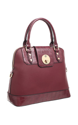 CROC PRINT FLAP OVER TWIST LOCK TOTE RED by BESSIE LONDON