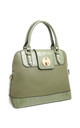 CROC PRINT FLAP OVER TWIST LOCK TOTE GREEN by BESSIE LONDON