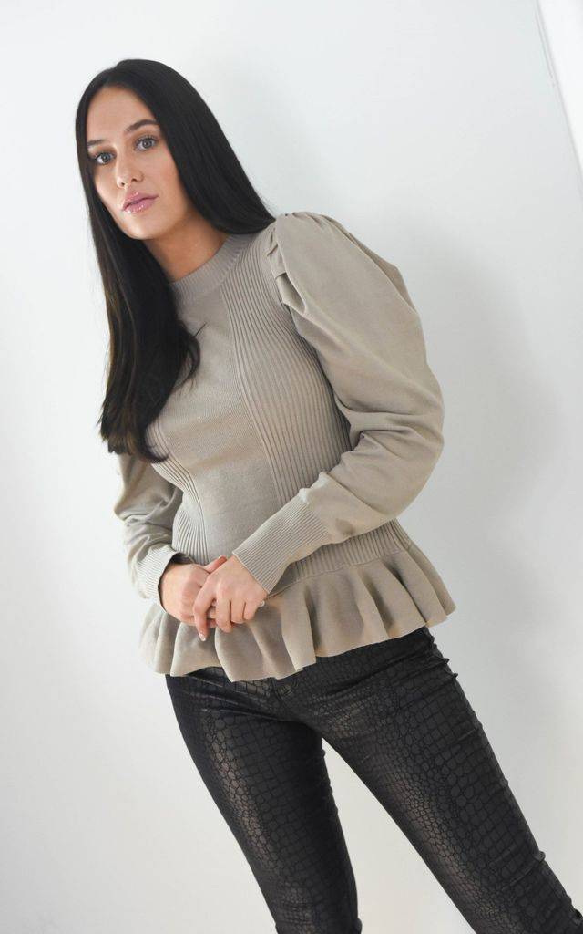 Taupe Peplum Ribbed Top Ruffle Trim Hem by Boutique Store