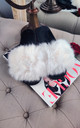 Fluffy Faux Fur Slide Slippers in White by ANGELEYE