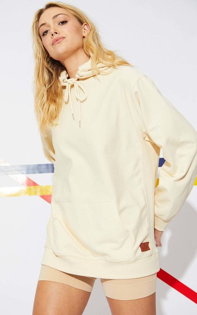 Hooded Cotton Sweatshirt in Cream by Jayley Collection