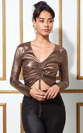 Goddiva Metallic Drawstring Long Sleeve Crop Top in Bronze by Goddiva