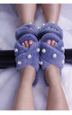 Fluffy Faux Fur Pearl Crossover Slide Slippers in Dusty Blue by ANGELEYE