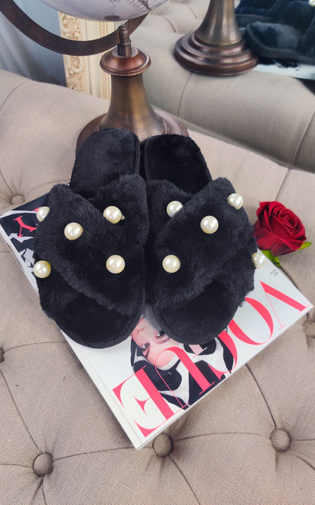 Fluffy Faux Fur Pearl Crossover Slide Slippers in Black by ANGELEYE