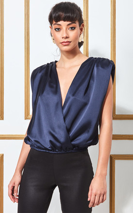 Goddiva Satin Wrap Style Top with Shoulder Pads in Navy by Goddiva