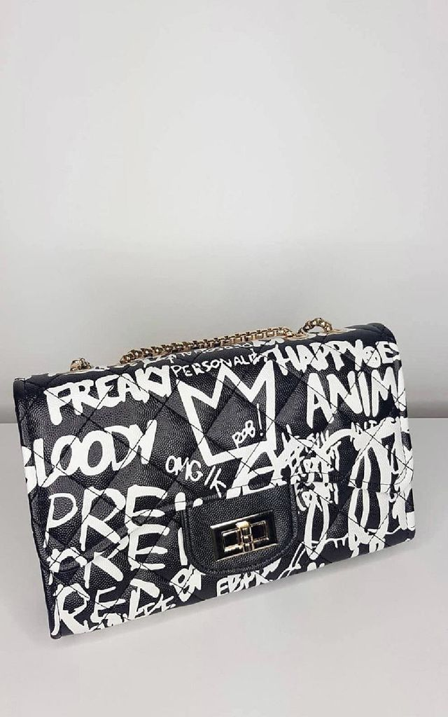 Bexley Graffiti Print Handbag in Black by IKRUSH