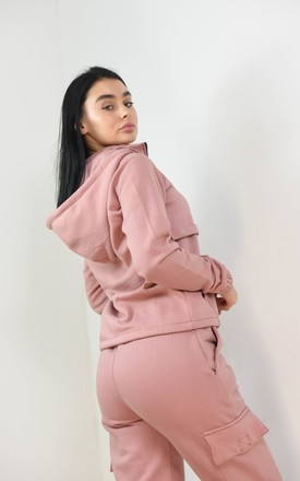 Pink Quarter Zip Up Funnel Neck Hoodie Jumper by Boutique Store