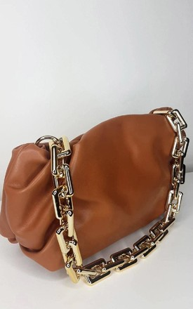 Farah Faux Leather Chain Detail Bag in Tan by IKRUSH