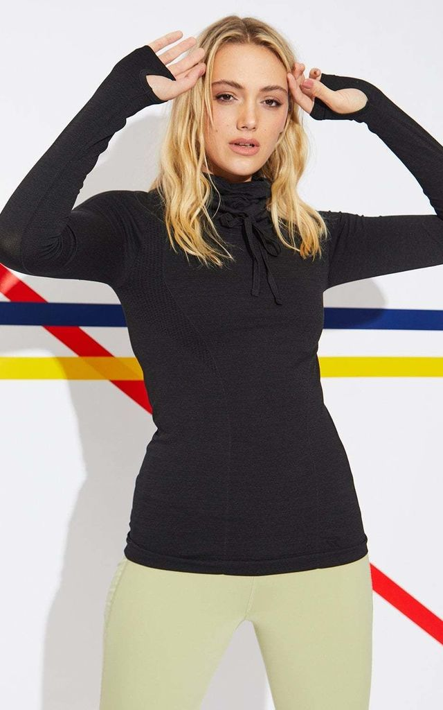 High Collar Sweatshirt in Black by Jayley Collection