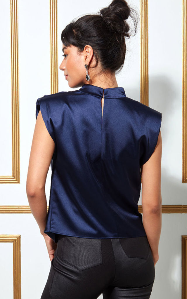 Goddiva High Collar Satin Top with Shoulder Pads - Navy by Goddiva