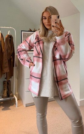 Fliss Checked Hooded Shirt Jacket in Baby Pink by IKRUSH