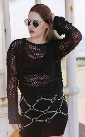 Aimee Black Loose Knit Jumper by In The Knitwear