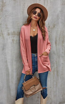 Mid Cardigan In Blush Pink by FS Collection