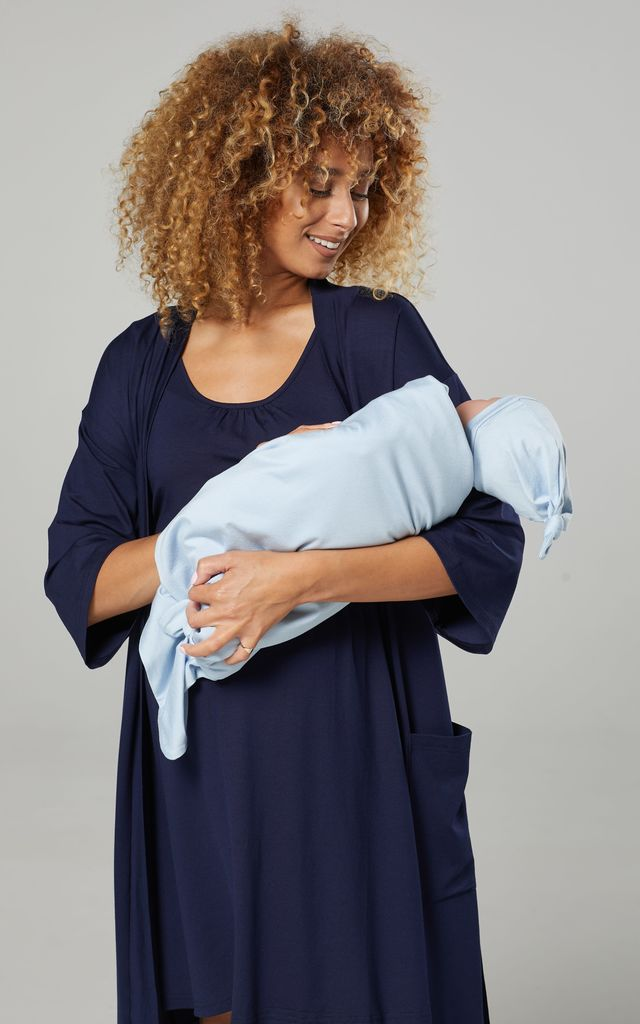 Women's Maternity Nursing Labour Set-Baby Hat & Blanket Included  1269 Navy & Light Blue by Chelsea Clark