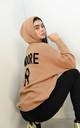 J'adore Text Batwing Sleeve Hoodie Jumper In Tan by Boutique Store