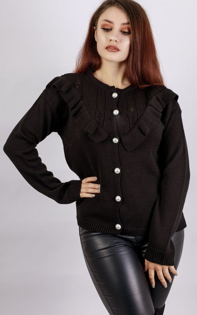 Black Frill Pearly Cardigan by In The Knitwear
