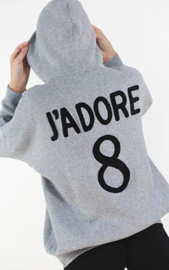 J'adore Text Batwing Sleeve Hoodie Jumper In Grey by Boutique Store