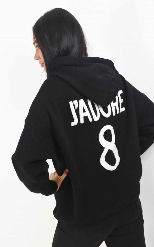 J'adore Text Batwing Sleeve Hoodie Jumper In Black by Boutique Store