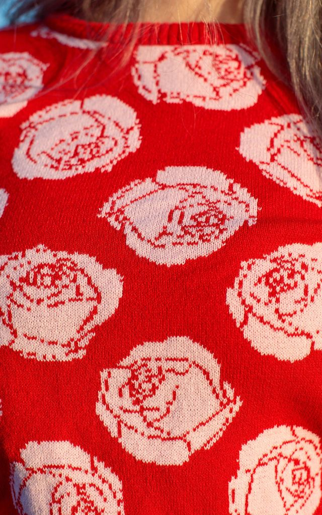 Red Rose Crop Knit Jumper by In The Knitwear