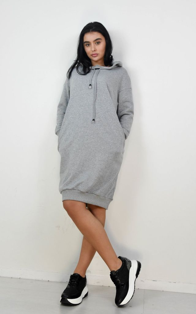 Grey Oversized Hoodie Dress by Boutique Store