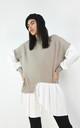 Taupe Ribbed Jumper With Peplum Frill Hem Shirt by Boutique Store
