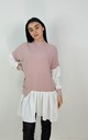 Pink Ribbed Jumper With Peplum Frill Hem Shirt by Boutique Store