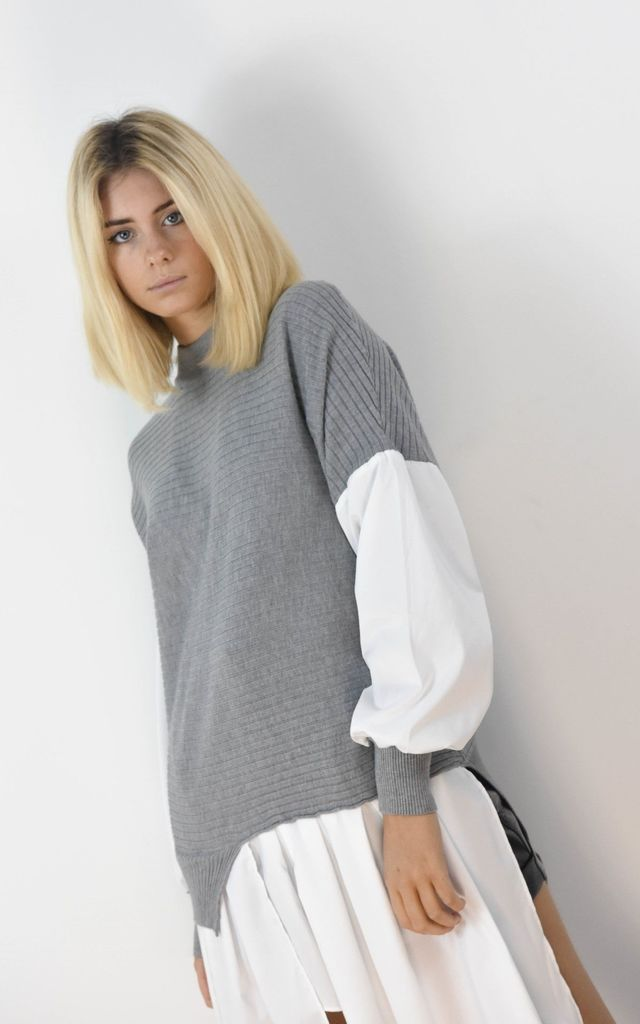 Grey Ribbed Jumper With Peplum Frill Hem Shirt by Boutique Store