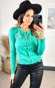 Flamingo Embroided Long Sleeve Cardigan in Green by Hearts and Roses London