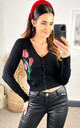 Floral Printed Cardigan in black by Hearts and Roses London