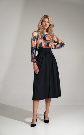 Black Long Flared Skirt by FIGL