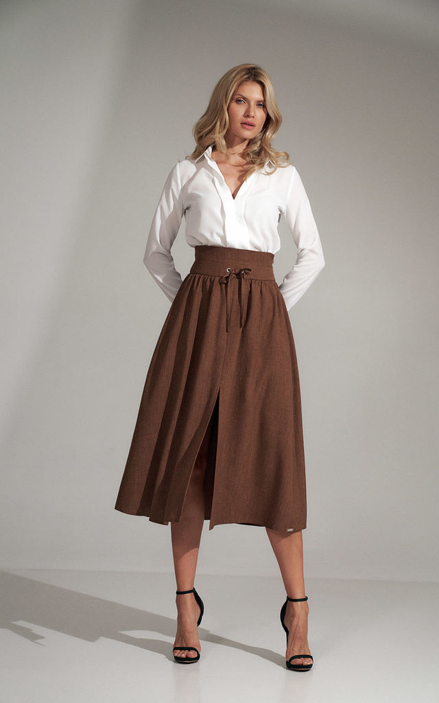Brown Long Flared Skirt by FIGL