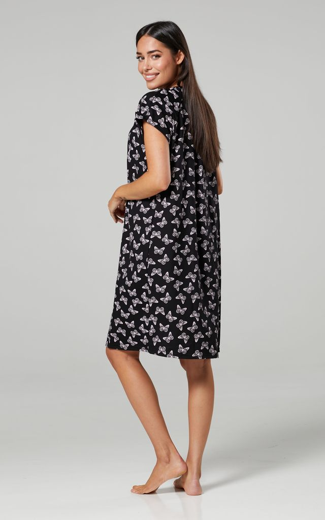 Navy Floral Print Maternity Hospital Set | Robe Nightie & Bag 1009 Black with Butterfiles by Chelsea Clark