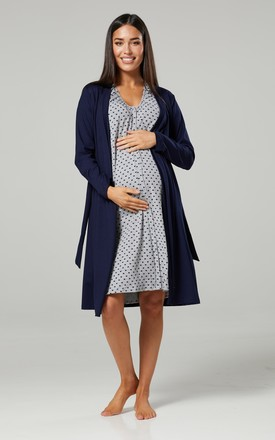 Navy Floral Print Maternity Hospital Set | Robe Nightie & Bag 1009 Navy & Grey Melange with Hearts by Chelsea Clark