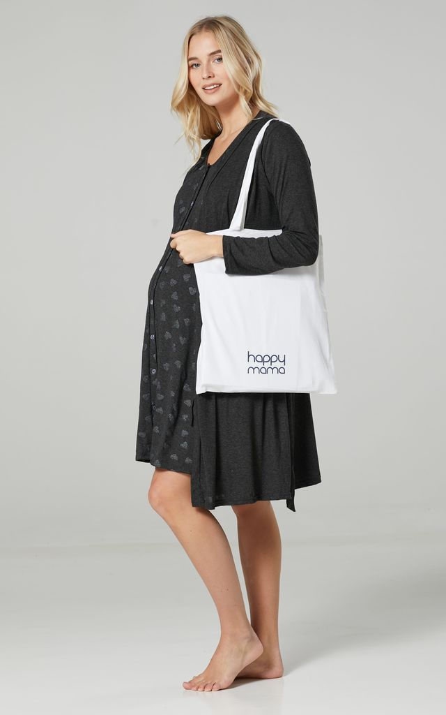 Navy Floral Print Maternity Hospital Set | Robe Nightie & Bag 1009 Graphite Melange with Silver Hearts by Chelsea Clark