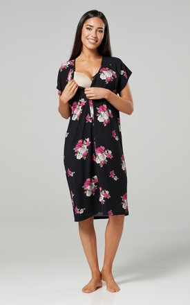 Navy Floral Print Maternity Hospital Set | Robe Nightie & Bag 1009 Black with Purple Roses by Chelsea Clark