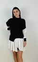 Black Ribbed Jumper With Peplum Frill Hem Shirt by Boutique Store