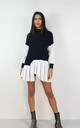 Navy Ribbed Jumper With Peplum Frill Hem Shirt by Boutique Store