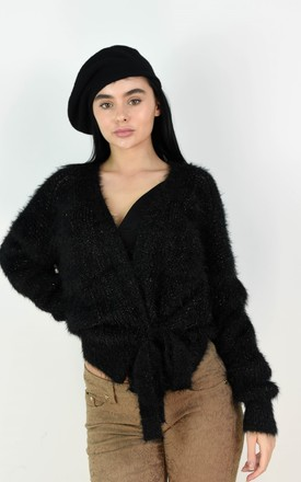 Black Fuzzy Wrap Short Cardigan Tie Up Belt by Boutique Store