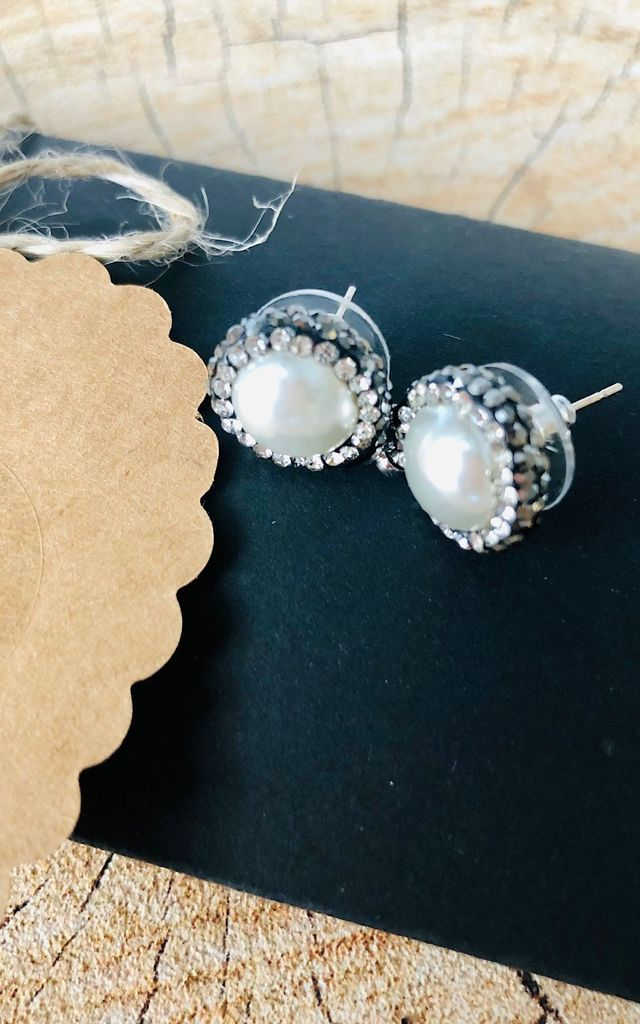 Pearl diamante encrusted drop earrings by Lovelock jewels