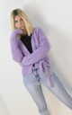 Purple Fuzzy Wrap Short Cardigan Tie Up Belt by Boutique Store