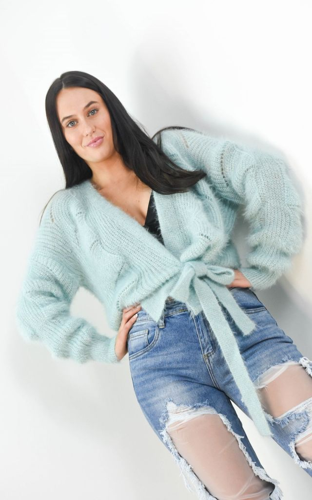 Blue Fuzzy Wrap Short Cardigan Tie Up Belt by Boutique Store