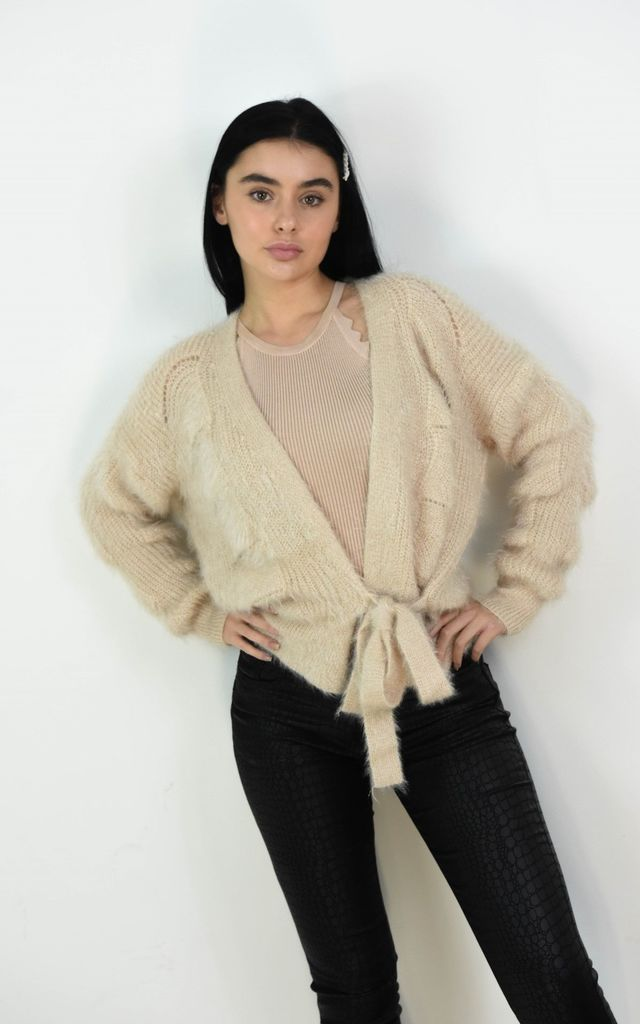 Cream Fuzzy Wrap Short Cardigan Tie Up Belt by Boutique Store
