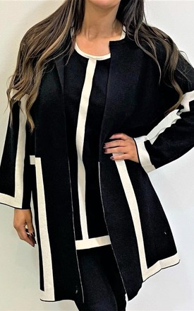 Oversized Stripe Detail Jumper In Black by Malissa J Collection