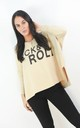 Cream Rock & Roll Batwing Sleeve Boxy Jumper by Boutique Store