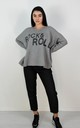 Grey Rock & Roll Batwing Sleeve Boxy Jumper by Boutique Store