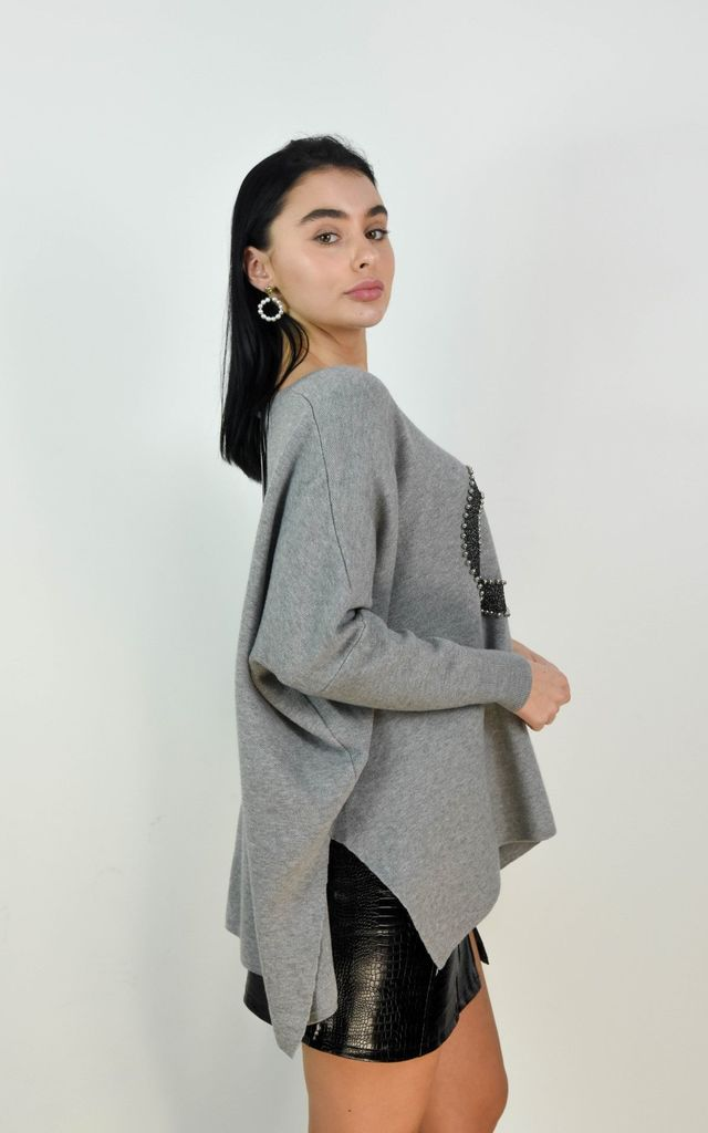 Grey Circle Logo Design Batwing Sleeve Boxy Jumper by Boutique Store